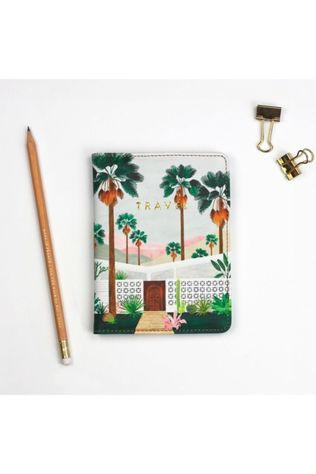All the ways to say Woonaccessoire Passport houder palmsprings + Bagagelabel Wit/Middengroen