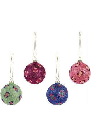 &KLEVERING Kerstcollectie Leopard Glitter Ornaments Set Of 4 Assorti / Gemengd