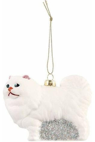 &KLEVERING Collection De Noel Cat ornament Large Blanc/Argent
