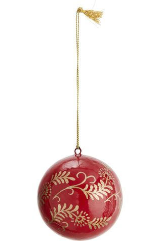 Madam Stoltz Collection De Noel Handpainted Papier Mache Ball Rouge Moyen/Or