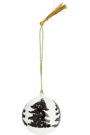 Madam Stoltz Collection De Noel handpainted papier Mache Ball Blanc Cassé/Noir