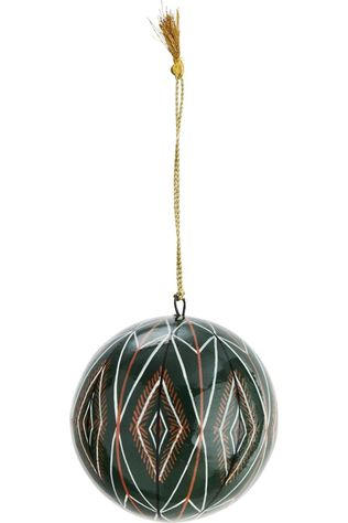 Madam Stoltz Collection De Noel Handpainted Papier Mache Ball Vert Foncé/Orange