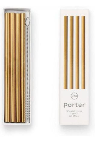 W&P Accessoire Porter Metal Straws 25.4cm Set Of 4 Or
