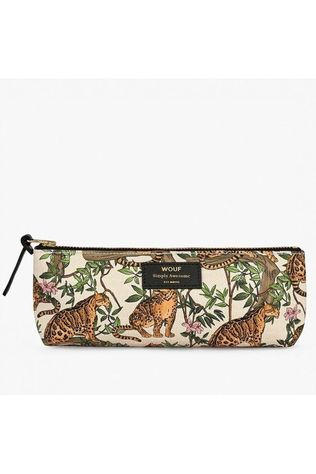 Wouf Papeterie Pencil Case Lazy Jungle Blanc/Orange