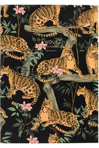 Wouf Papeterie Notebook A5 Black Lazy Jungle Collection Orange/Noir