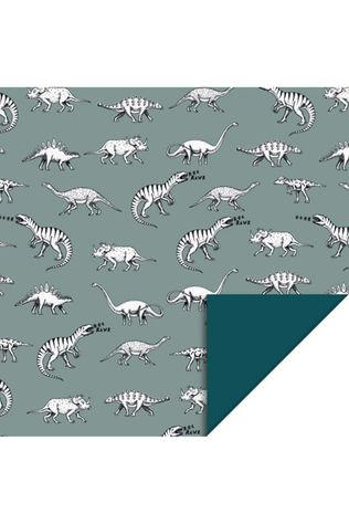 House of Products Inpakpapier Dino - Blue (70cm x 2m) Middenblauw/Wit