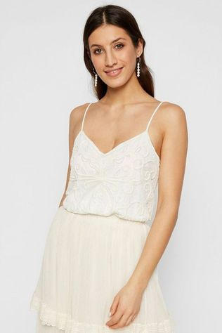 Yas Charlene Hand-Beaded Strap Top Gebroken Wit