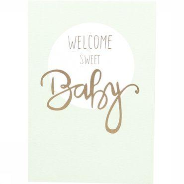Wenskaart Gold Welcome Sweet Baby