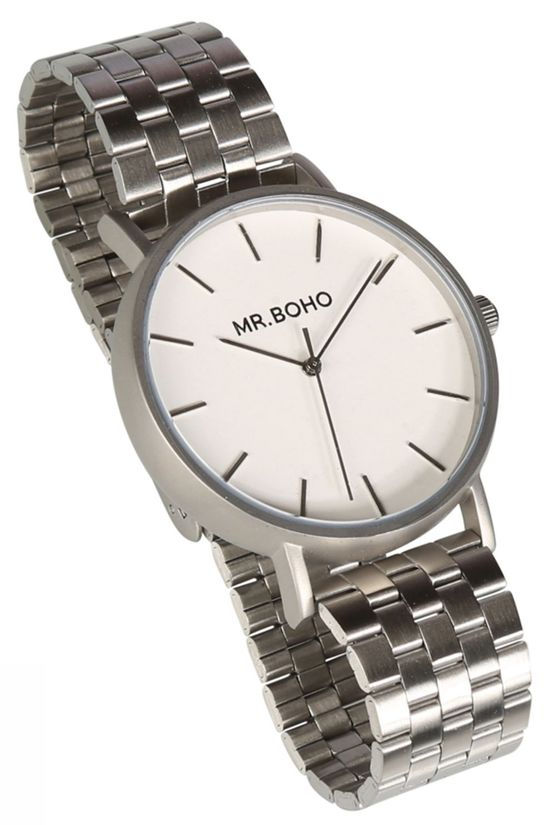Mr. Boho Montre Vintage Metallic Iron Argent/Blanc