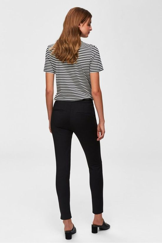 Selected T-Shirt My Perfect Ss Boxcut Stripes Noir