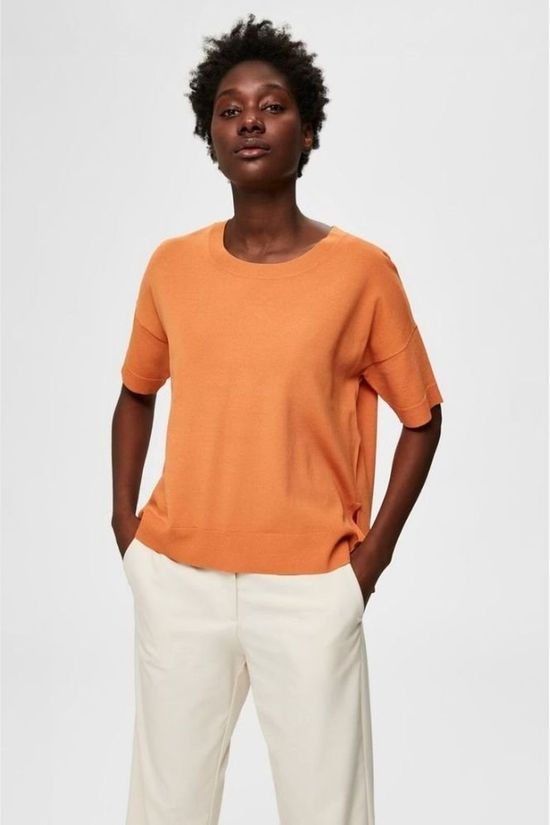 Selected T-Shirt Willle Ss Knit O Neck Middenroze/Oranje