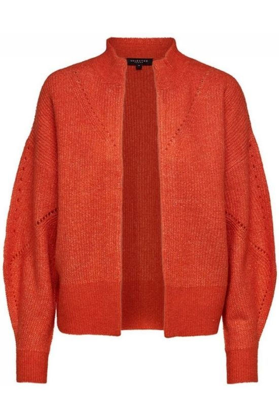 Selected Cardigan Slfinga Ls Knit Frill Rouge