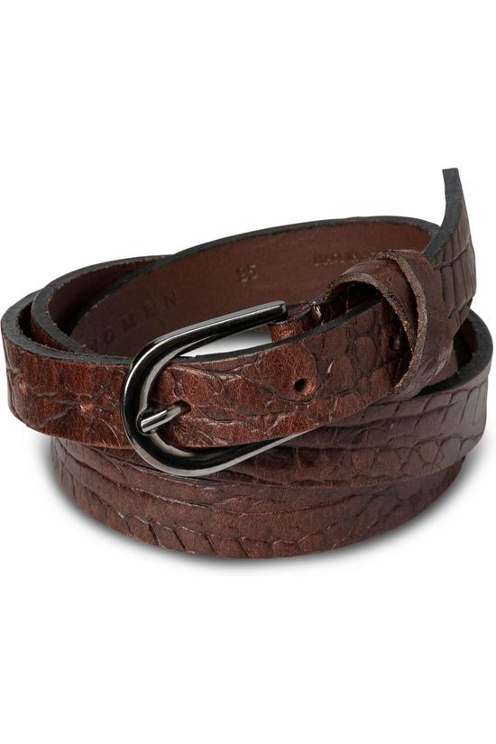 Yaya Ceinture Leather Belt With Crocodile Print Brun Foncé