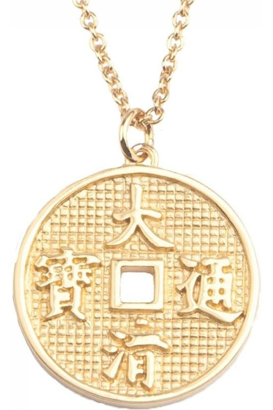 All The Luck In The World Ketting East Lucky Coin Goud