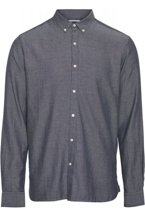Knowledge Cotton Apparel Hemd 90816 Middenblauw