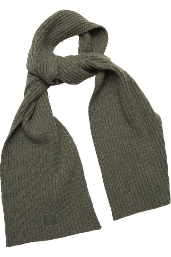 Knowledge Cotton Apparel Sjaal Juniper Rib Organic Wool Scarf Middenkaki