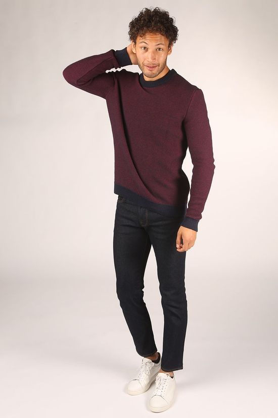 Knowledge Cotton Apparel Trui Valley Donkerblauw/Bordeaux / Kastanjebruin