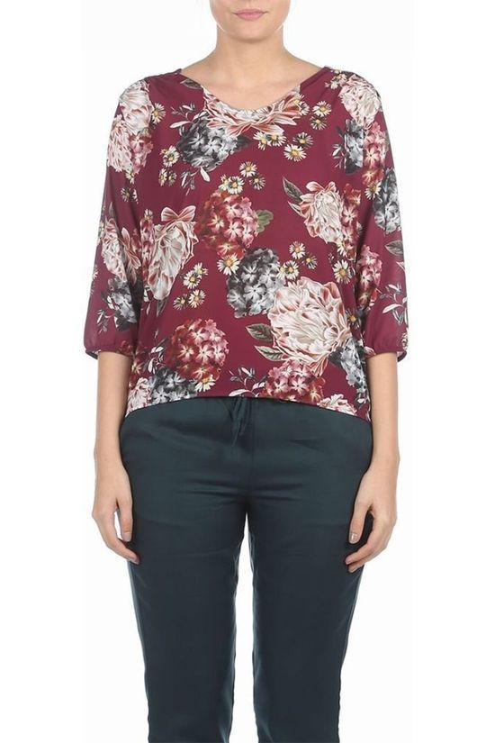 B.Young Blouse Goria V Neck Blouse 3 Bordeaux / Kastanjebruin/Ass. Bloem