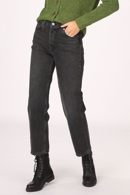 Selected Jeans Slfkate High Waist Straight Grey Stone Noir/Gris Foncé