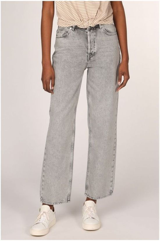 Selected Jeans Slfkate Hw Straight Blast Grey Jeans Gris Clair Mélange