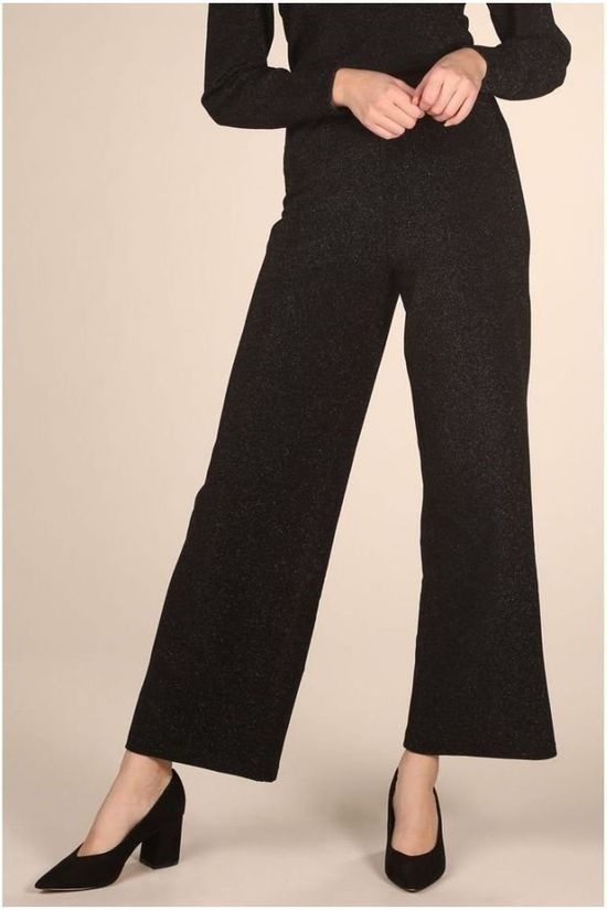 Selected Broek sia Mid Waist Wide Zwart