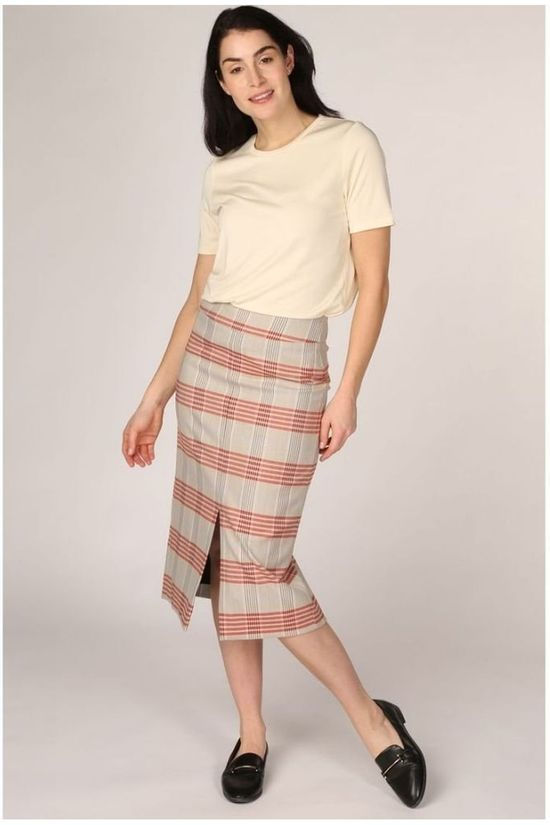 Selected Rok Slfzoe High Waist Midi Pencil Zandbruin/Rood