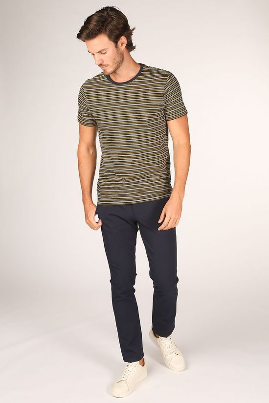 Selected T-Shirt patrick Stripe Ss O-Neck Tee W Donkerblauw/Middenkaki