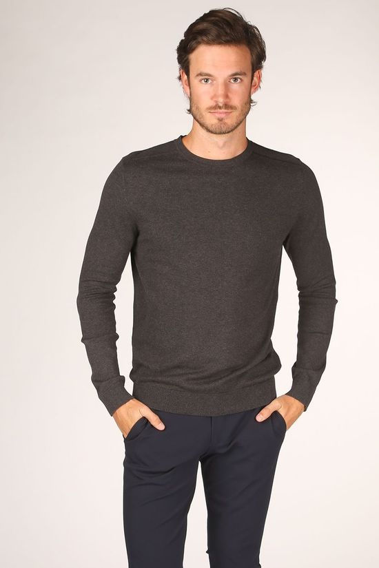 Selected Trui berg Crew Neck B Noos Donkergrijs
