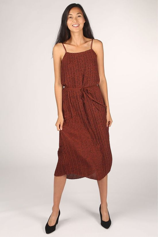 Selected Jurk kinsley Tunni Maxi Strap Roest/Zwart
