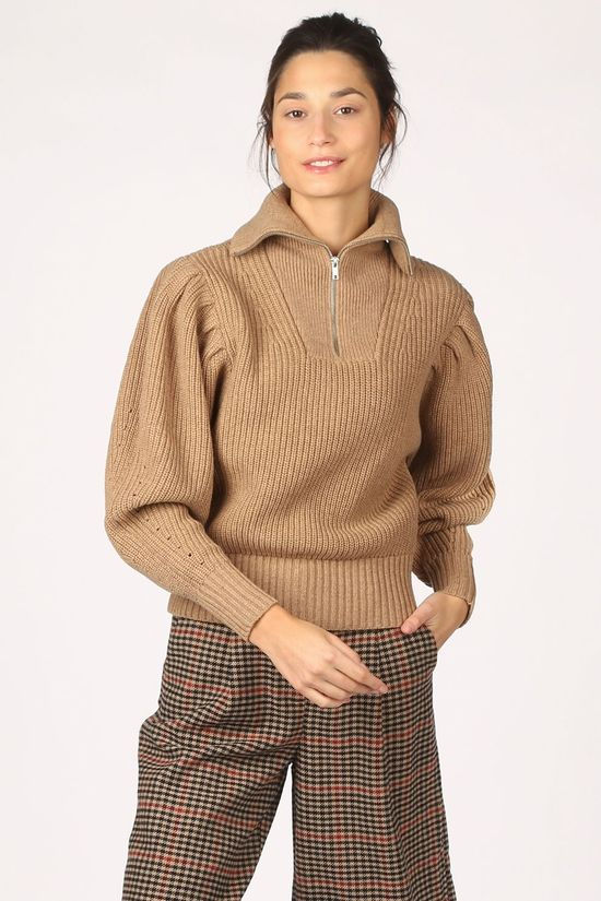 Selected Pull katty Ls Puff Sleeve W Marron Chameau