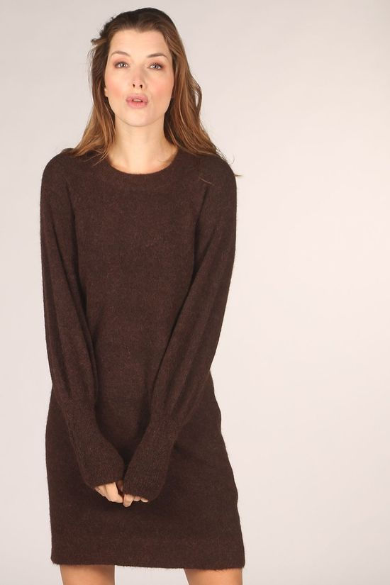 Selected Jurk sif Kylie Ls O-Neck B Donkerbruin