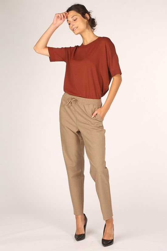 Selected Pantalon julie Mw Comfort Straight Te B Marron Chameau