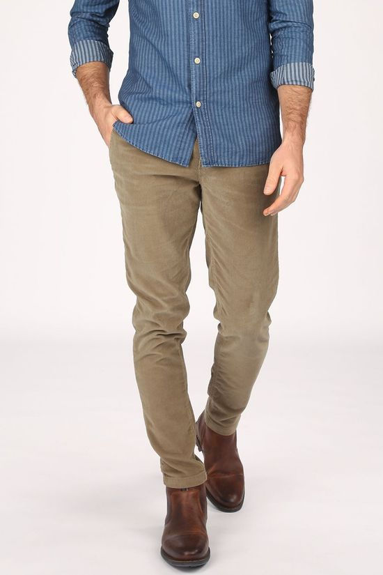 Selected Pantalon slimcomfortcoopercord Kaki Clair