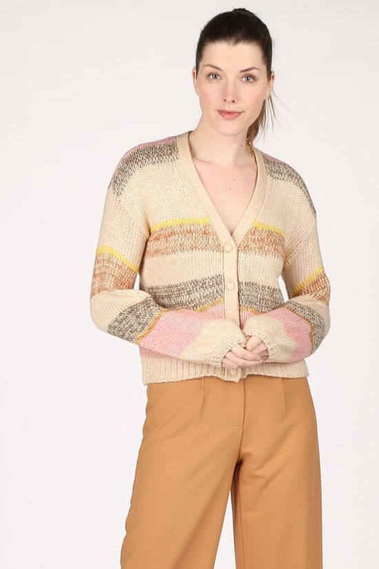 Yas Cardigan Yasnino Ls Brun Sable/Assorti / Mixte