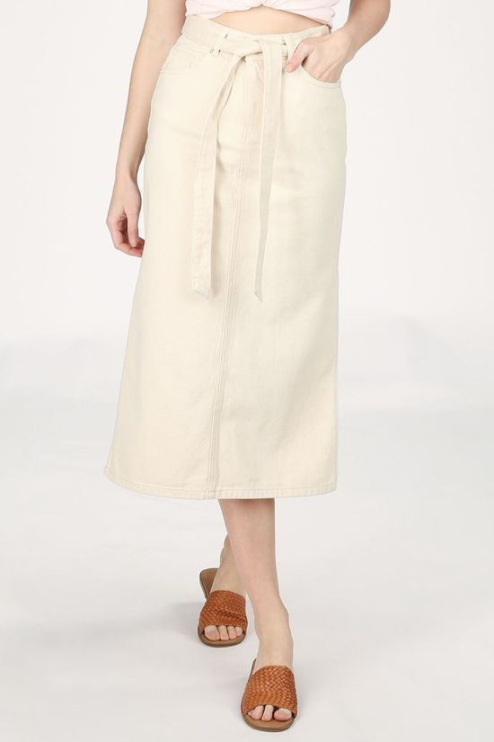 Selected Rok Slfalma Hw Long Cream White Denim Gebroken Wit