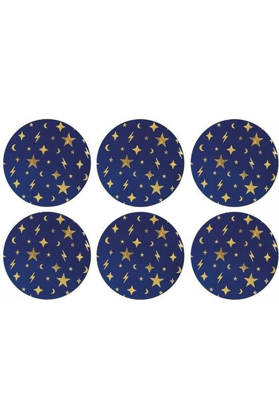 &KLEVERING Servies Set Of 6 Space Coasters Blue Donkerblauw