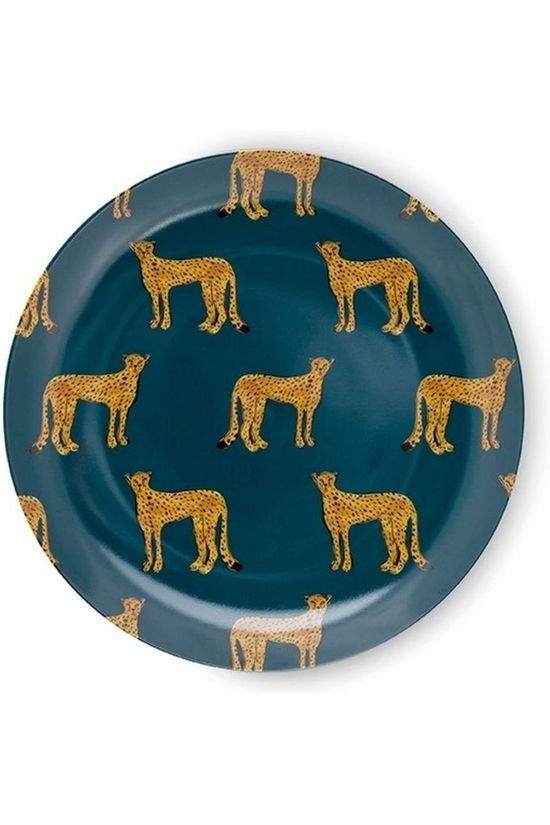 Fabienne Chapot Home Servies Set 2 Breakfast Plates Cheetah Petrol/Geel