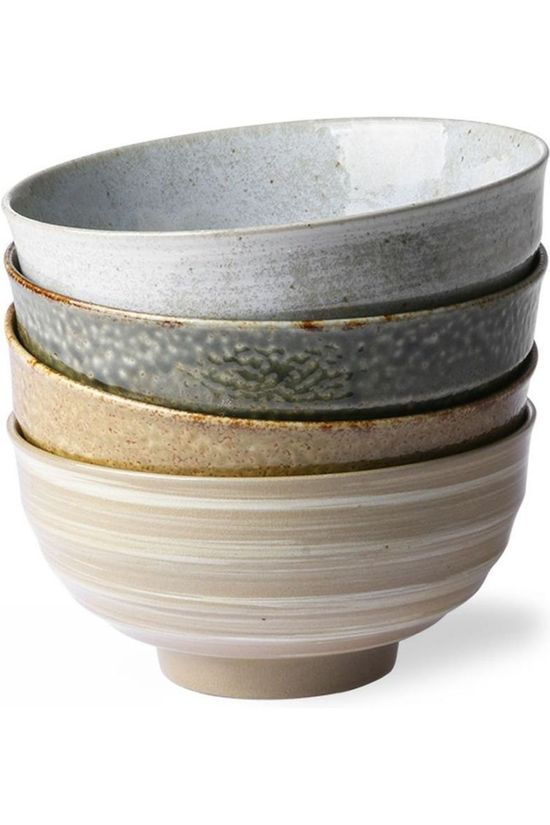 HK Living Service De Vaisselle Kyoto Ceramics: Japanese Noodle Mugs Set of 4 Assorti / Mixte