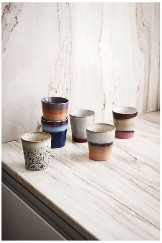 HK Living Service De Vaisselle Ceramic 70'S Mugs Of 6 Assorti / Mixte