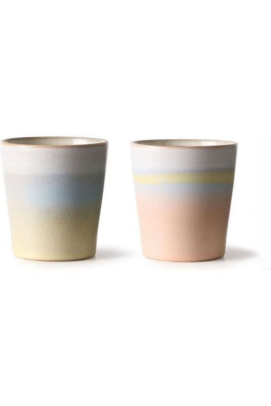 HK Living Servies Ceramic 70'S Mug Horizon Set Of 2 Lichtroze/Lichtgeel