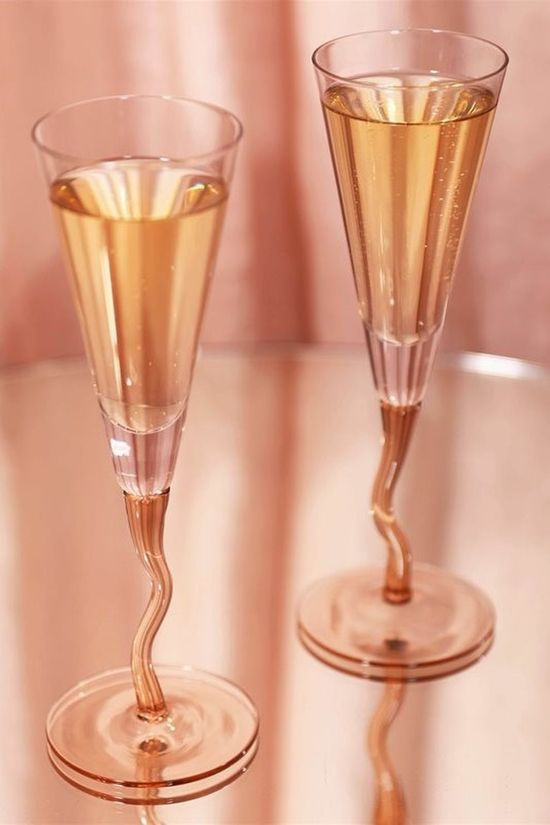 &KLEVERING Champagnefluit Curly Set OF 2 Lichtroze