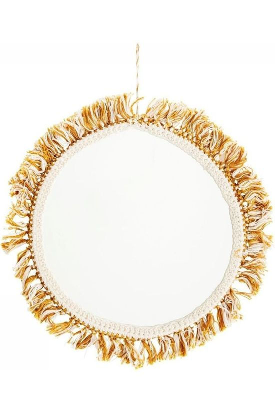 Madam Stoltz Spiegel Hanging Mirror With Cotton Fringes Gebroken Wit/Middengeel