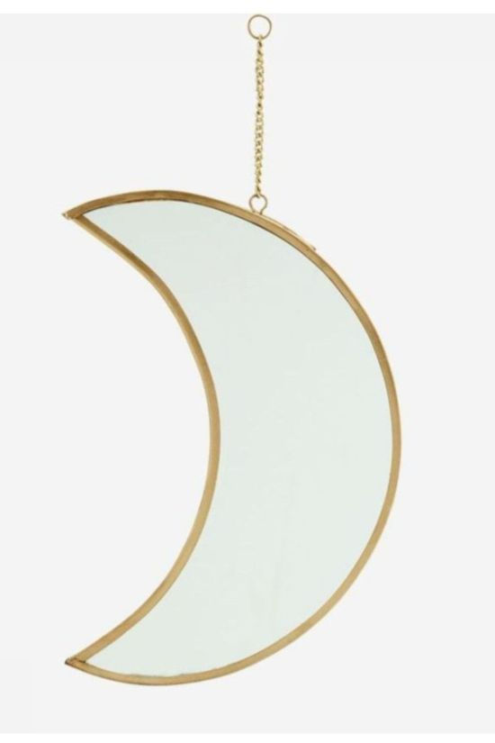 Madam Stoltz Miroir Hanging Moon H20Cm Or