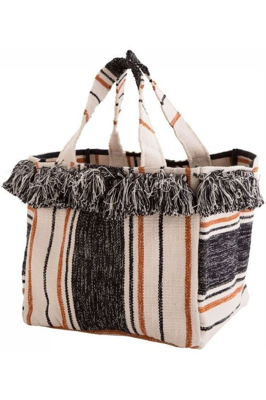 Madam Stoltz Kleine Opberger Striped Bag With Fringes Zwart/Gebroken Wit