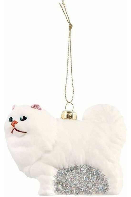 &KLEVERING Kerstcollectie Cat ornament Large Wit/Zilver