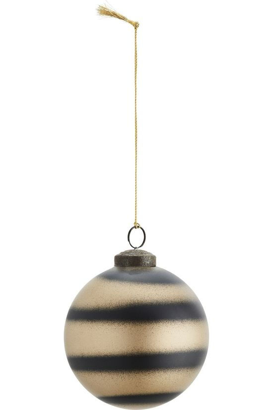 Madam Stoltz Collection De Noel Hanging Ball W/Stripes Noir/Or