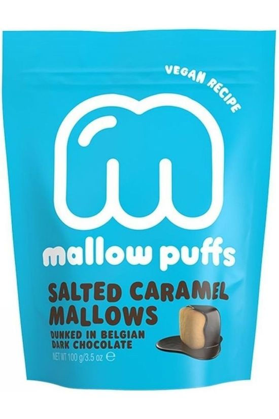Mallow Puffs Eten Mallows Puffs Salted Caramel 100gr Middenblauw/Wit