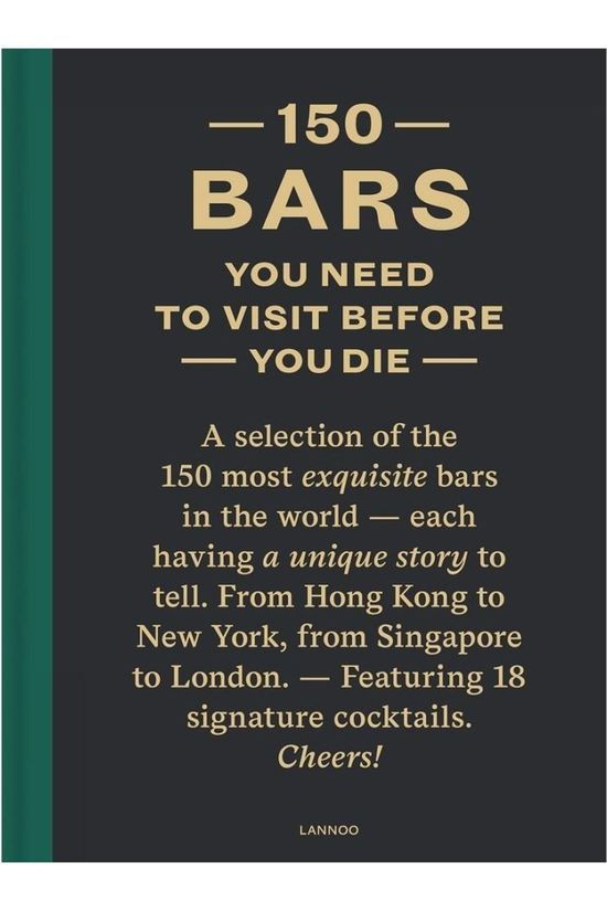 Lannoo Livre 150 Bars You need To Visit before You Die Pas de couleur / Transparent