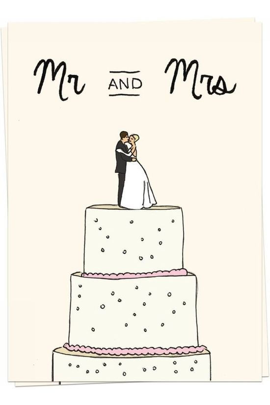Kaart Blanche Wenskaart Mr & Mrs Wedding Cake Assorti / Gemengd