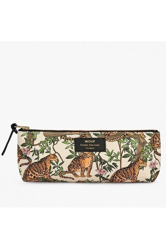 Wouf Papierwaren Pencil Case Lazy Jungle Wit/Oranje
